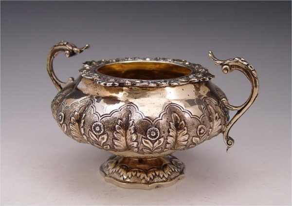 4: A. B. SAVORY HANDLED ENGLISH SILVER BOWL