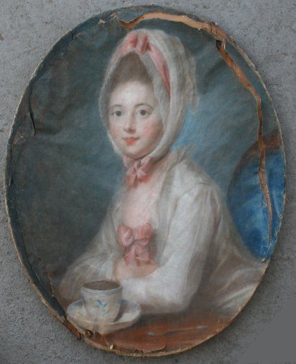 18: EXCEPTIONAL PASTEL PORTRAIT CIRCLE OF PERRONEAU