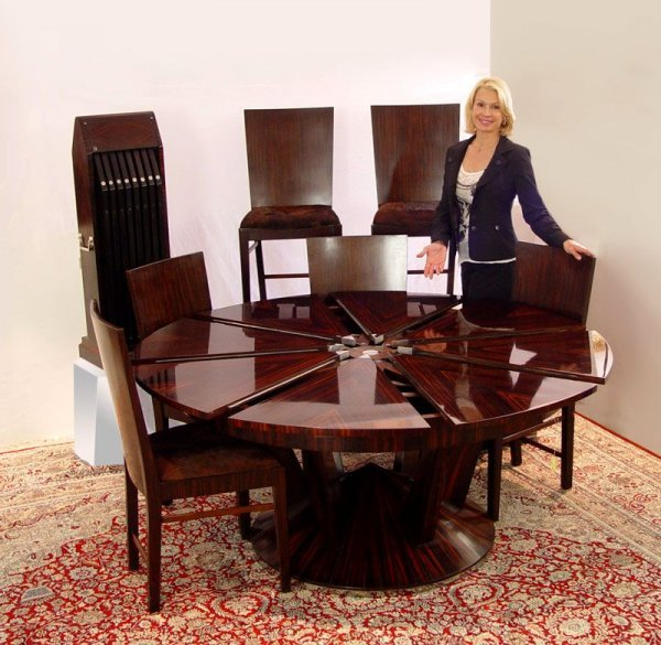 20: THEODORE ALEXANDER JUPE  MECHANICAL TABLE & CHAIRS