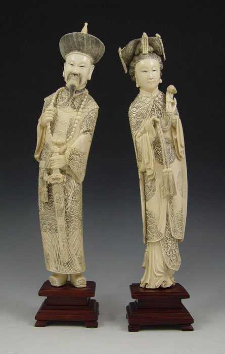196: CHINESE CARVED IVORY FIGURES 12'' TALL