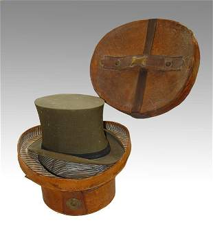 238: VICTORIAN LEATHER TOP HAT BOX