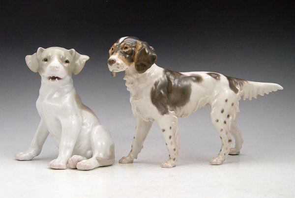 480: 2 PIECE PORCELAIN DOG FIGURINES