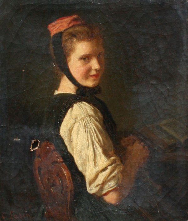 10: CARL LASCH OIL PAINTING OF YOUNG MAIDEN