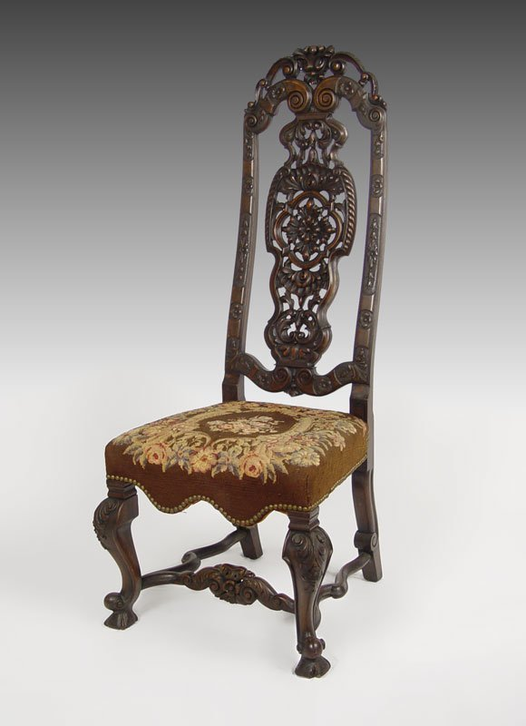 14: ORNATELY CARVED HIGH BACK CHAIR W/ NEEDLEPOINT SEAT
