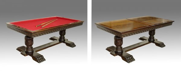 8: VICTORIAN  SNOOKER TABLE CONVERTS  DINING TABLE