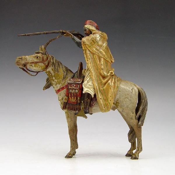 3: BERGMAN BRONZE ORIENTALIST MAN ON HORSE