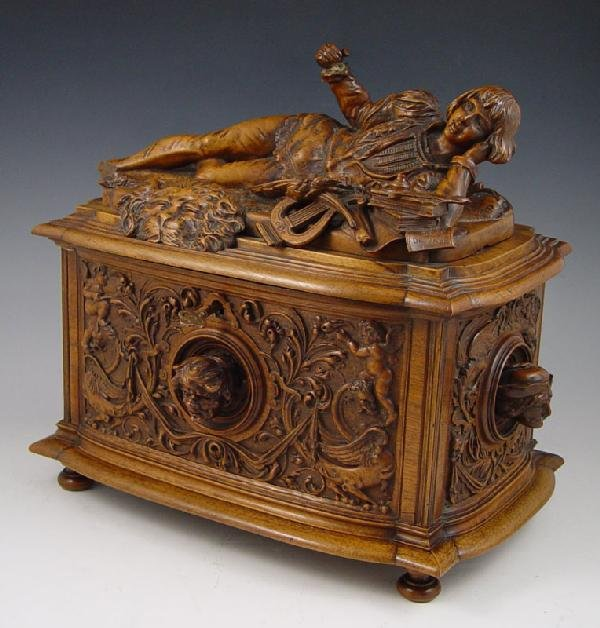 6: VICTOR AIMONE FIGURAL CARVED BOX 1886