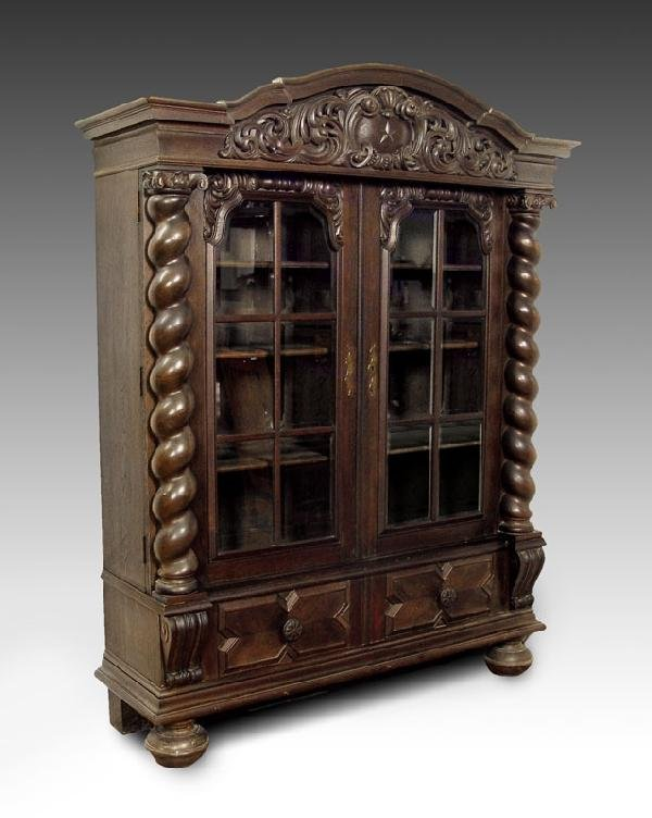 15: 19th C ALSACE LORRAINE CARVED BOOKCASE