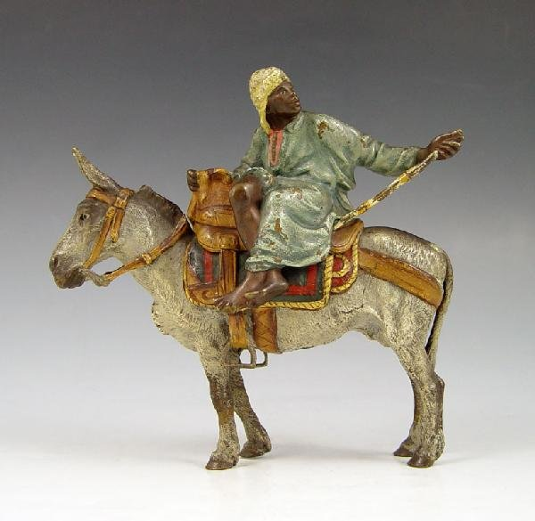 17: BERGMAN ORIENTALIST BRONZE MAN ON DONKEY