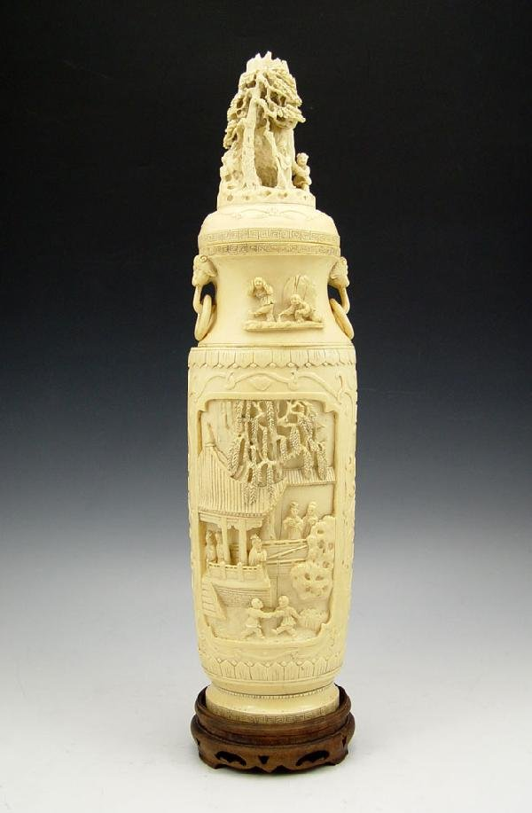 106: CARVED IVORY TUSK URN / COVERED VASE