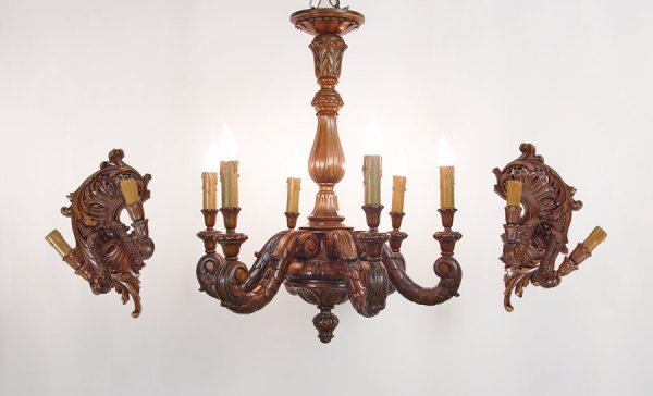 21A: QUARTER SAWN OAK CHANDELIER & 2 SCONCES