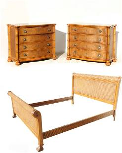 TOMMY BAHAMA CALIFORNIA KING BED & 2 CHESTS