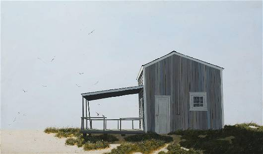 LARGE JAMES CROMARTIE BEACH SHACK PAINTING