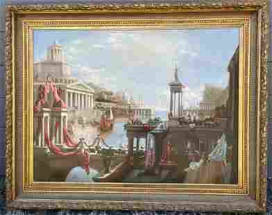 LARGE DECORATIVE NEOCLASSICAL STYLE PAINTING OF VENICE