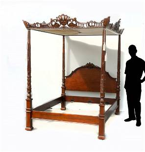 FINELY CARVED CANOPY BED