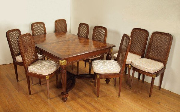 12: FRENCH PARQUETRY ORMOLU DINING TABLE & 9 CHAIRS