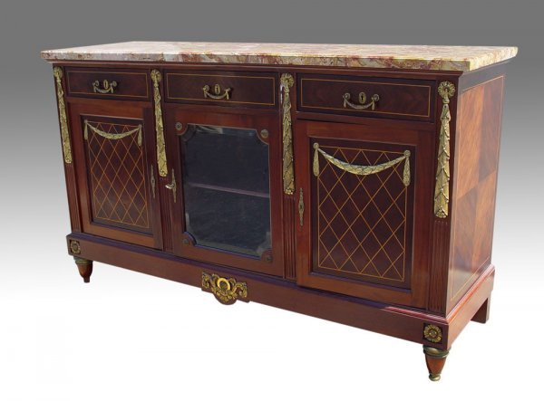 13: FRENCH LOUIS XVI STYLE ORMOLU MOUNTED SIDE CABINET