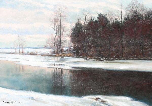 20: HANS KLATT GERMAN SNOWY WINTER RIVER LANDSCAPE