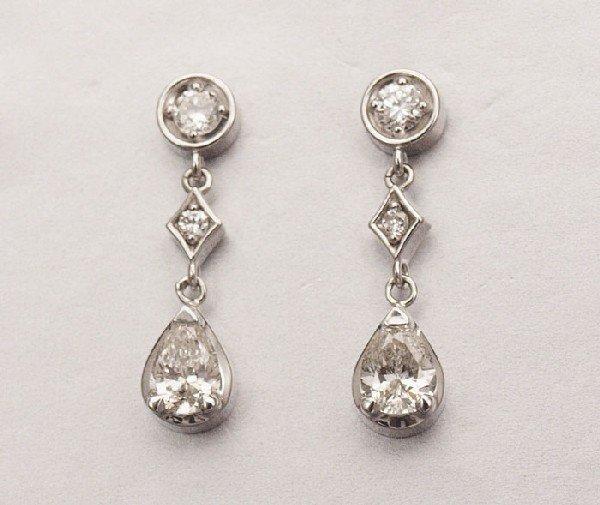 24: 14K DIAMOND DROP EARRINGS 1.49 Ct