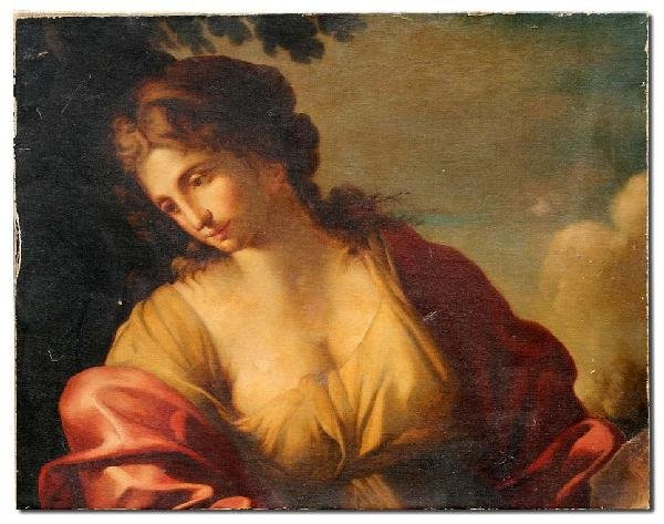 32: 19TH C ALLEGORICAL OIL PAINTING OF MAIDEN