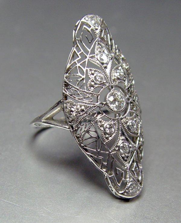 7: PLATINUM .50 CT DIAMOND RING W/ OLD EURO.  SIZE 8
