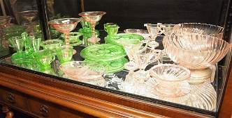 470 PINK AND GREEN DEPRESSION ERA GLASSWARE