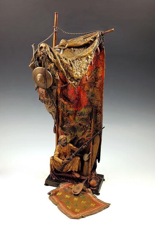 1: BERGMAN AUSTRIAN BRONZE ORIENTALIST FIGURAL LAMP