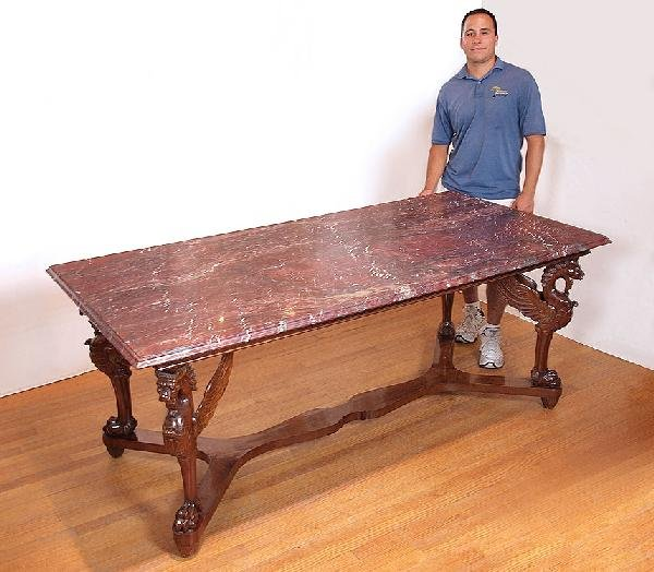 10: CARVED GRIFFIN MARBLE TOP DINING TABLE