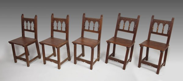 18: SET OF 5 SPANISH SIDE CHAIRS