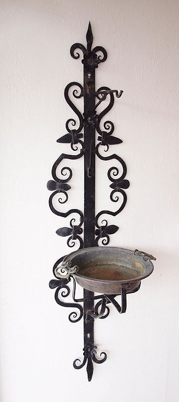 19B:  5 FT TALL WROUGHT IRON SCONCE & COPPER PLATE