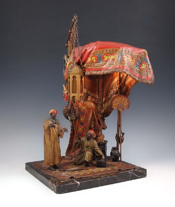 5: ANTON CHOTKA ORIENTALIST AUSTRIAN BRONZE LAMP