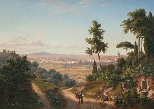 10: EUGENE GUERARD LANDSCAPE PAINTING DATED 1844