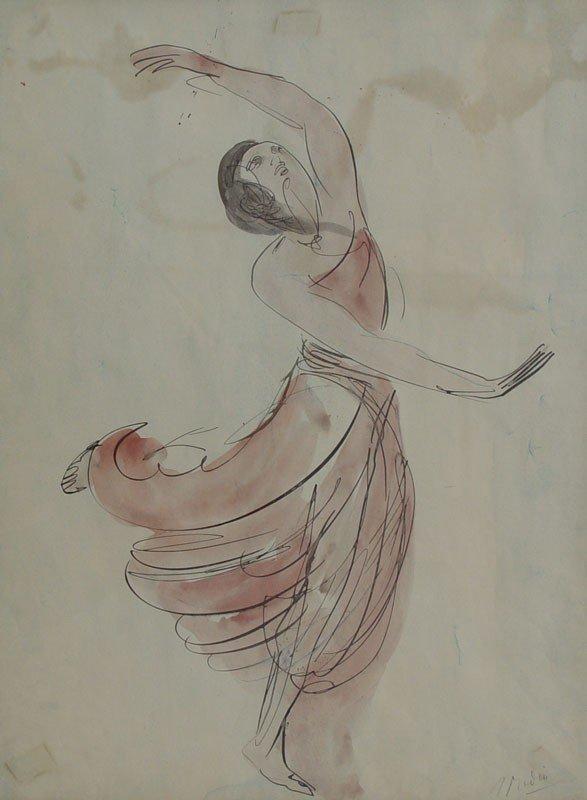 12: AUGUSTE RODIN DANCER WATERCOLOR