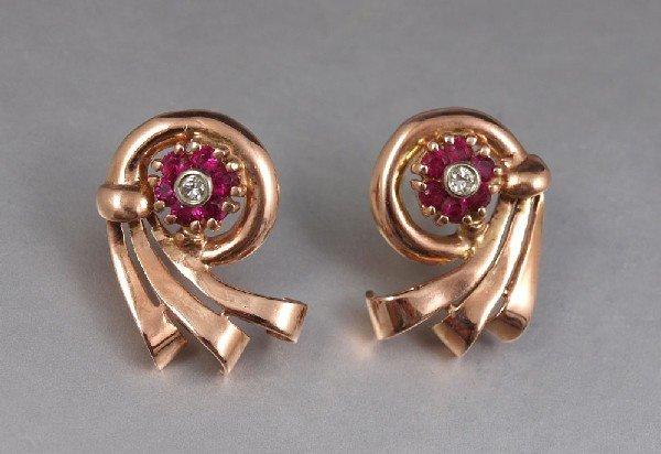 16: 14k ROSE GOLD DIAMOND EARRINGS