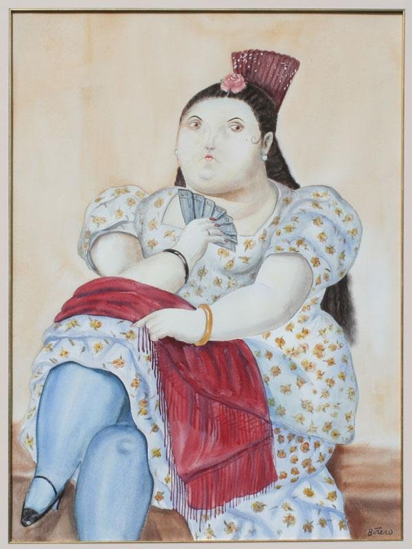 88: FERNANDO BOTERO SEATED FEMALE WATERCOLOR
