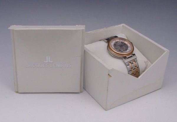 182: JACQUES LEMANS SKELETON STYLE SWISS WRISTWATCH - 2