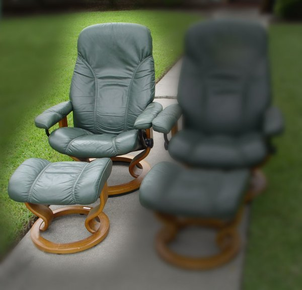 232: EKORNES STRESSLESS LEATHER CHAIR WITH OTTOMAN