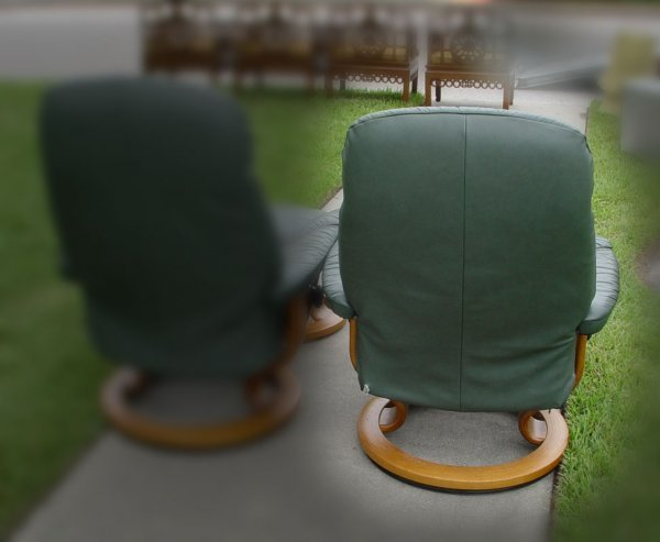 232: EKORNES STRESSLESS LEATHER CHAIR WITH OTTOMAN - 2