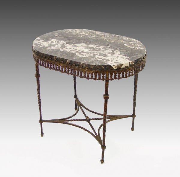 14: OSCAR BACH ERA MARBLE TOP TABLE BRASS TABLE