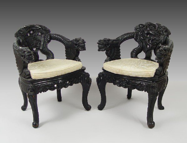 178: PAIR CHINESE CARVED DRAGON CHAIRS