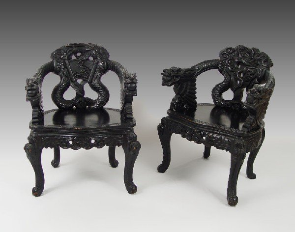 178: PAIR CHINESE CARVED DRAGON CHAIRS - 2