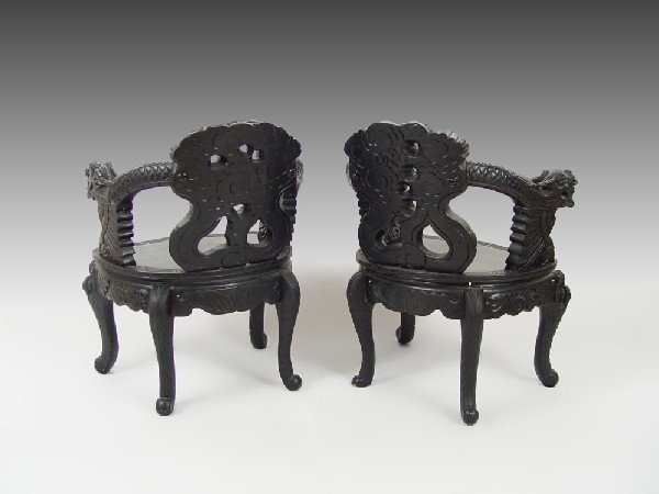 178: PAIR CHINESE CARVED DRAGON CHAIRS - 3