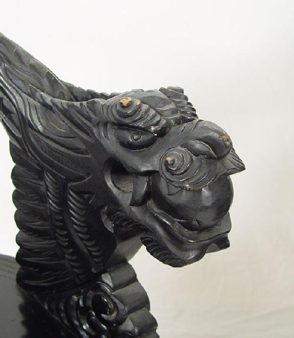 178: PAIR CHINESE CARVED DRAGON CHAIRS - 8