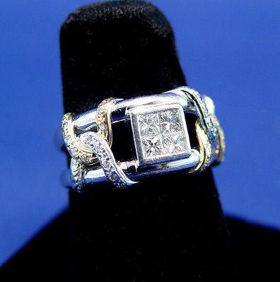 PLATINUM & 18K PRINCESS CUT DIAMOND RING SZ7 9GR