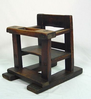 12: PRIMITIVE EARLY WOODEN CHILD'S JUVENILE CHAIR