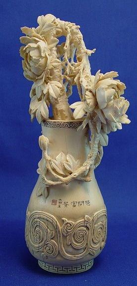 24: JAPANESE CARVED IVORY SCULPTURE FLOWER VASE