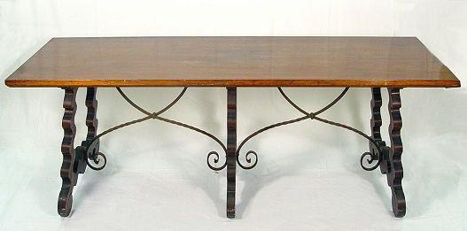 14: 7 FT SPANISH TRESTLE TABLE W IRON STRETCHERS