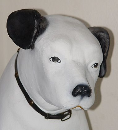 "17: VINTAGE PAPER MACHE RCA VICTOR NIPPER DOG 32""h!"