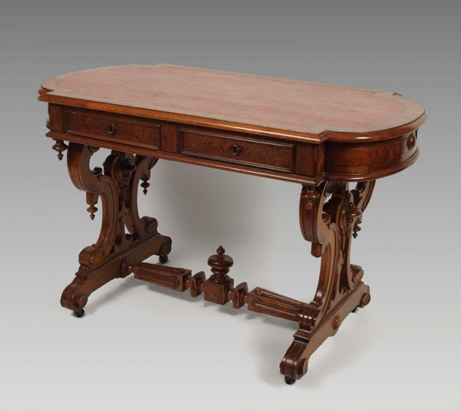 4: VICTORIAN WALNUT AND BURL RENAISSANCE STYLE TABLE