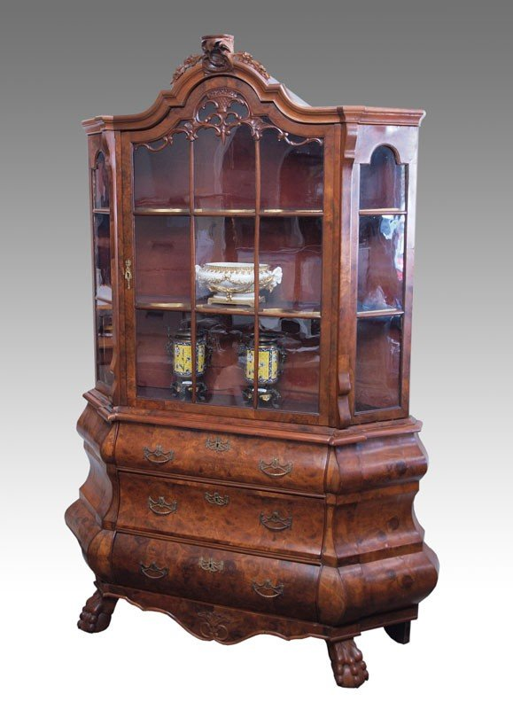 9: DUTCH BOMBAY DISPLAY CABINET ON STAND